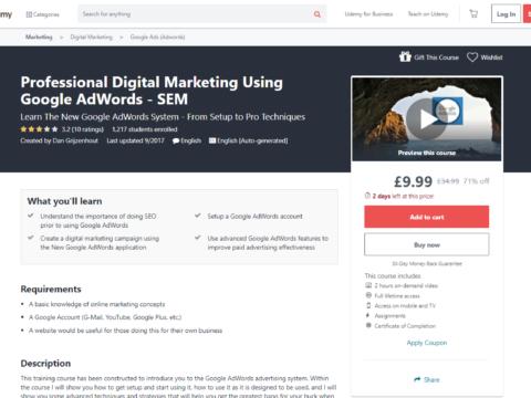 Professional Digital Marketing Using Google AdWords – SEM