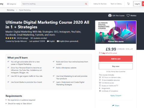 Ultimate Digital Marketing Course 2020 All in 1 + Strategies