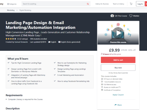 Landing Page Design & Email Marketing / Automation Integration