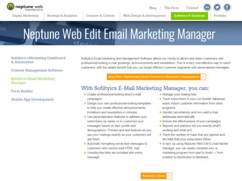 Neptune Web Edit Email Marketing Manager