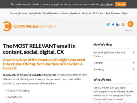 The MOST RELEVANT email in content, social, digital, CX
