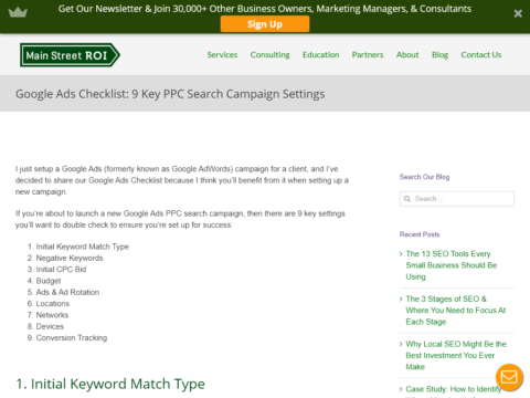 Google Ads Checklist: 9 Key PPC Search Campaign Settings
