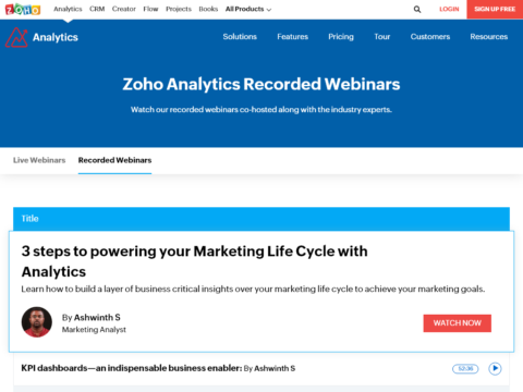 Zoho Analytics Webinars