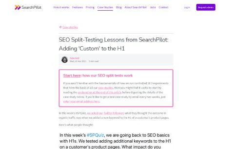 Adding 'Custom' to the H1 SEO Split Testing Lessons from SearchPilot